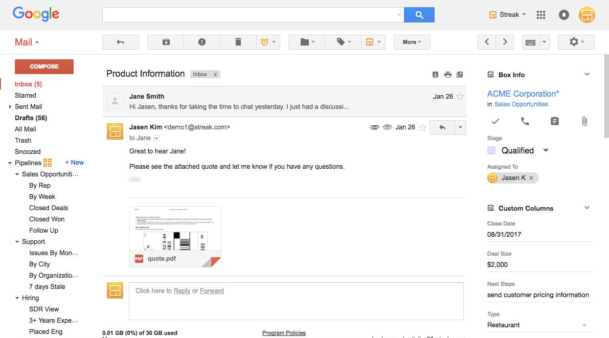 Streak screenshot: View CRM information alongside email threads