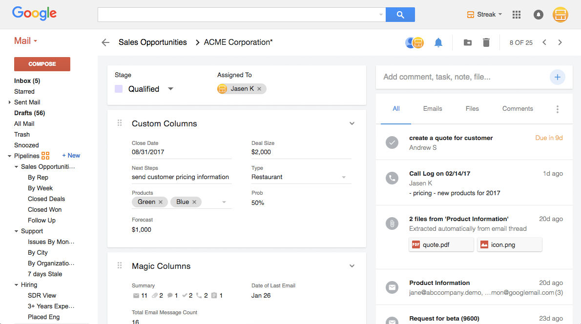 Streak screenshot: Complete 360 view of the customer right inside Gmail