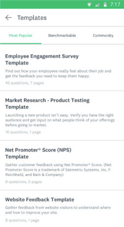 SurveyMonkey screenshot: Users can create a range of custom survey templates and share these with their team