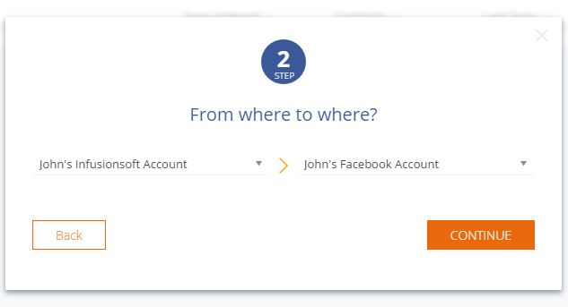 Sync2CRM screenshot: Choose the CRM account and ad account to connect