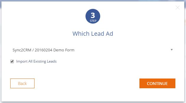 Sync2CRM screenshot: Import the existing leads from the Lead Ad into the CRM account