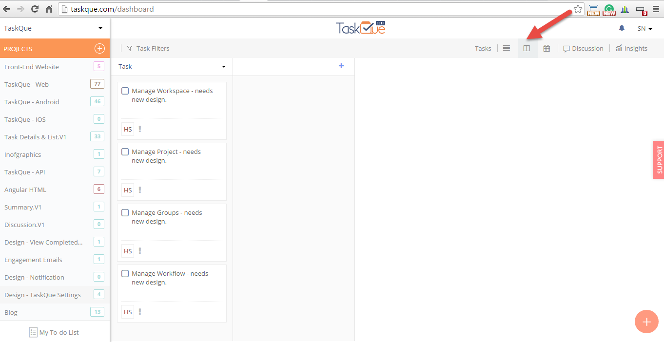 Kanban view of tasks