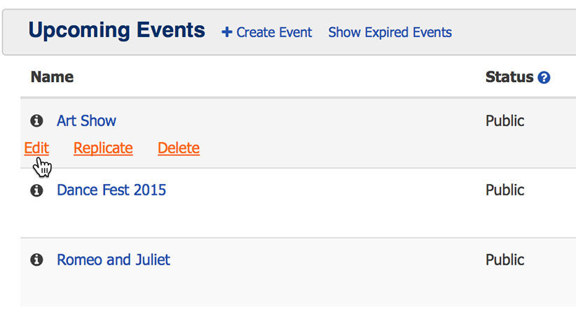 ThunderTix screenshot: Administrative view of Events tab. Replicate link creates duplicated event data for quick creation of events copying all ticket prices, shipping and fees.
