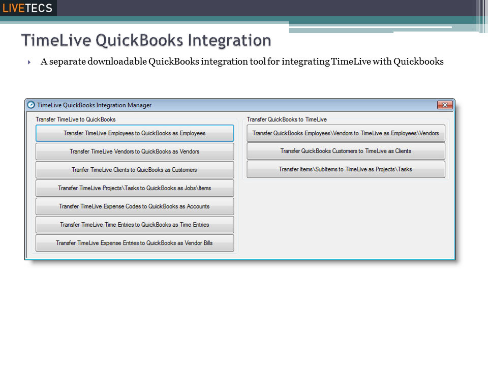 Livetecs screenshot: Quickbook Integration