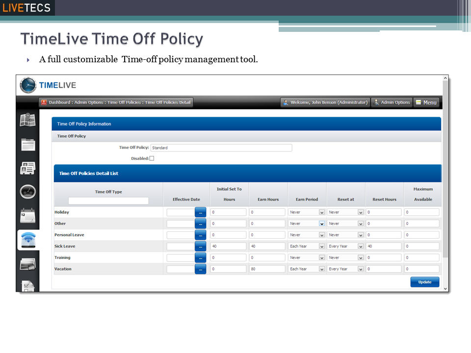 Livetecs screenshot: Time Off Policies