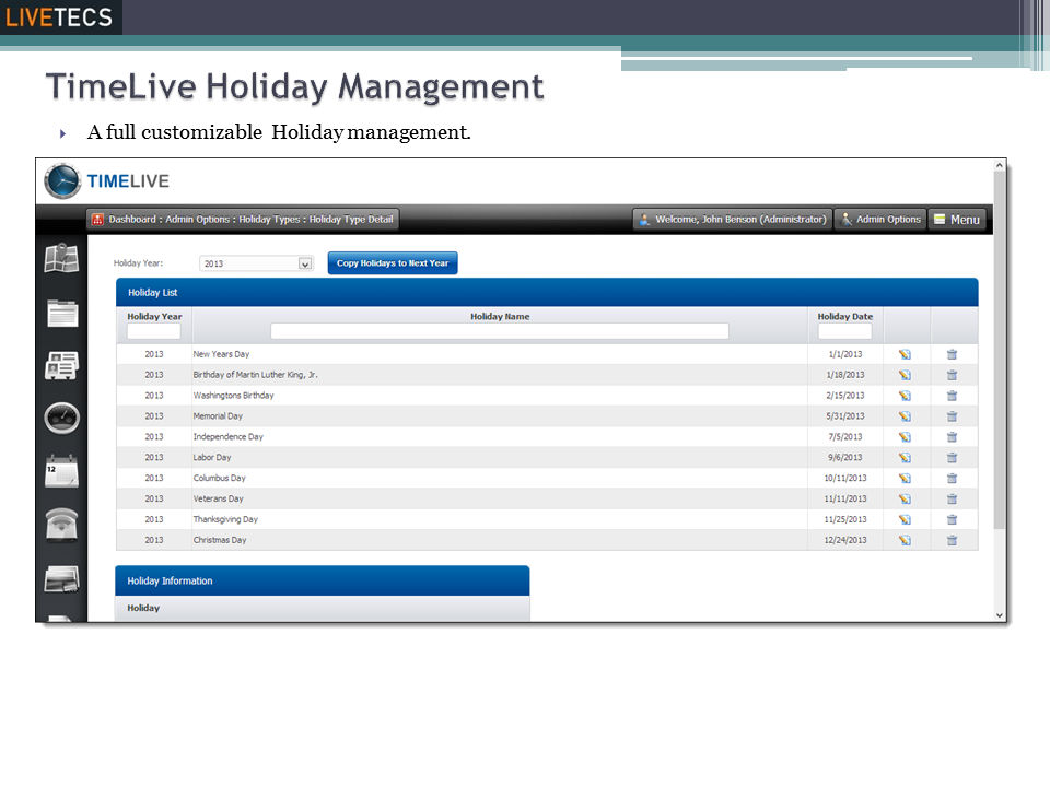 Livetecs screenshot: Holidays