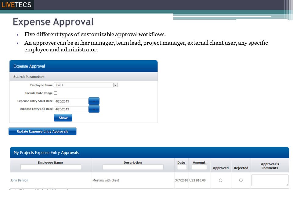 Livetecs screenshot: Expense Approval