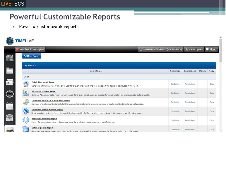 Livetecs screenshot: Customizable Reports