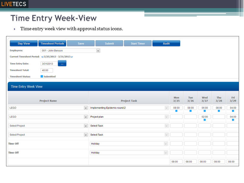 Livetecs screenshot: Timesheet Week View