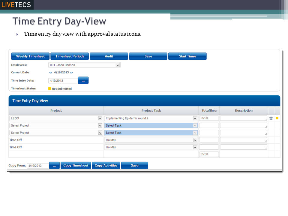 Livetecs screenshot: Timesheet Day View