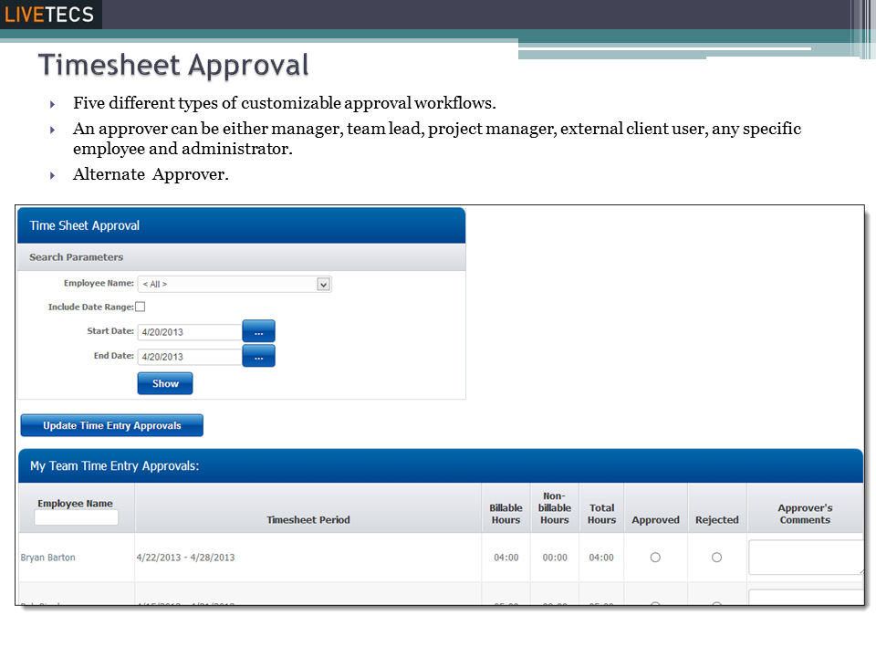 Livetecs screenshot: Timesheet Approval