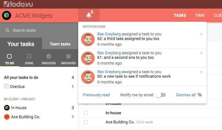 todo.vu screenshot: Manage notifications and email tasks directly into todo.vu
