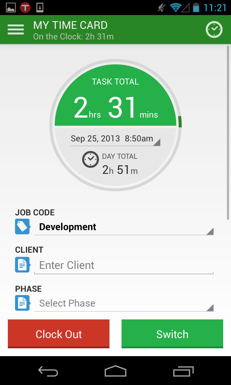 TSheets screenshot: Track time from any location, using any device, in real time