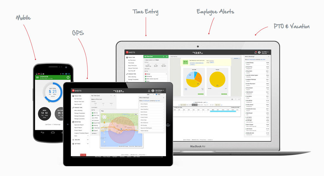 TSheets screenshot: Access TSheets on laptop, tablet and mobile