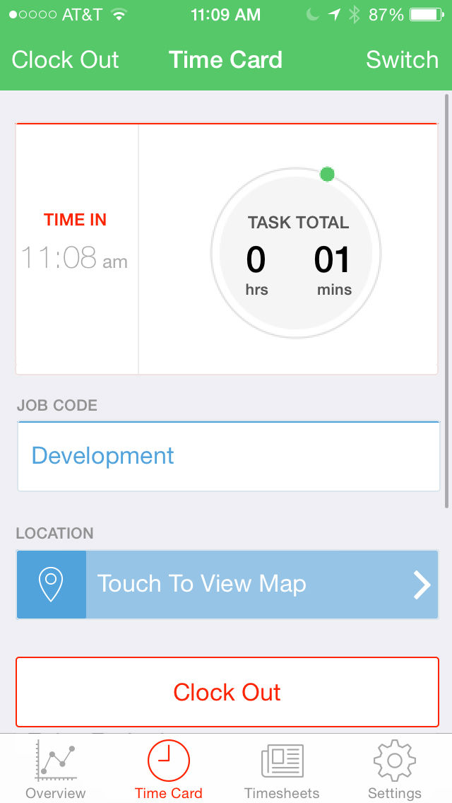 TSheets screenshot: Clock out using iOS mobile app