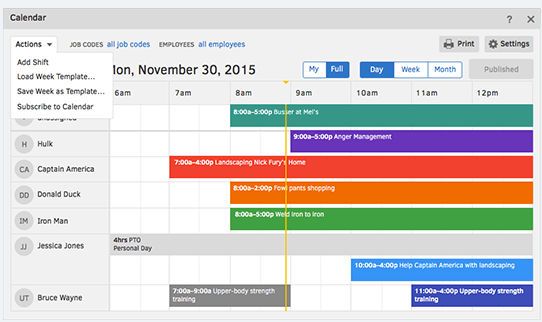 TSheets screenshot: Create and edit a schedule in minutes, and see who's working in real time