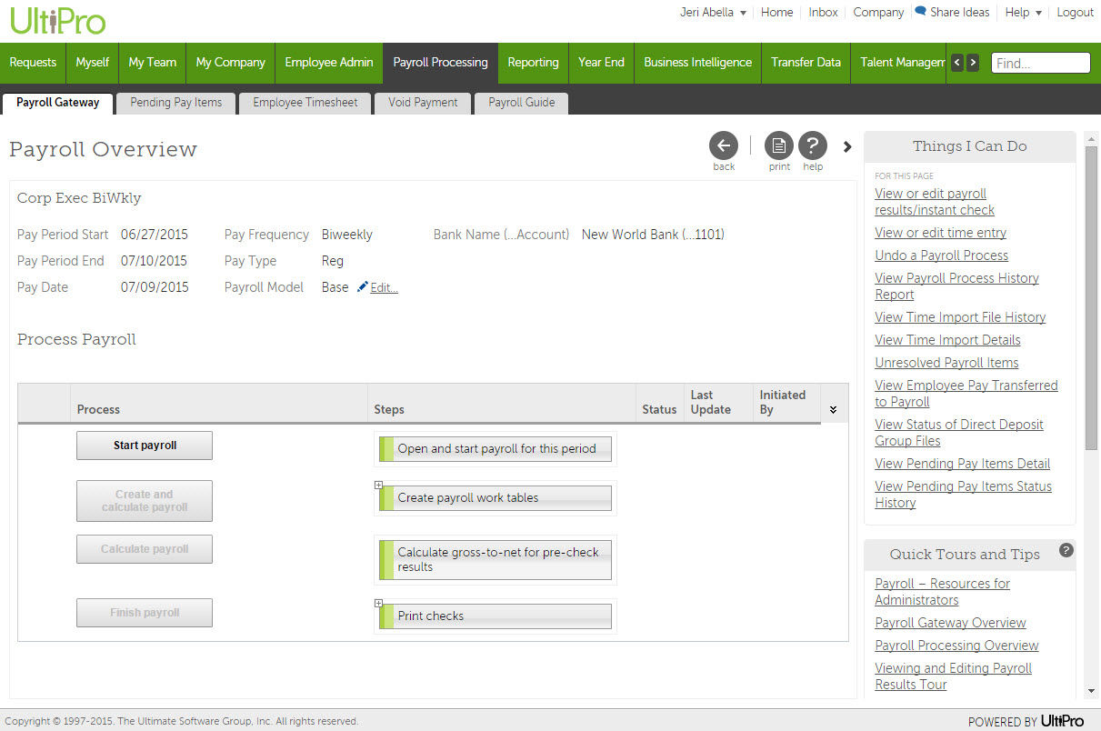 UltiPro screenshot: Payroll management in UltiPro