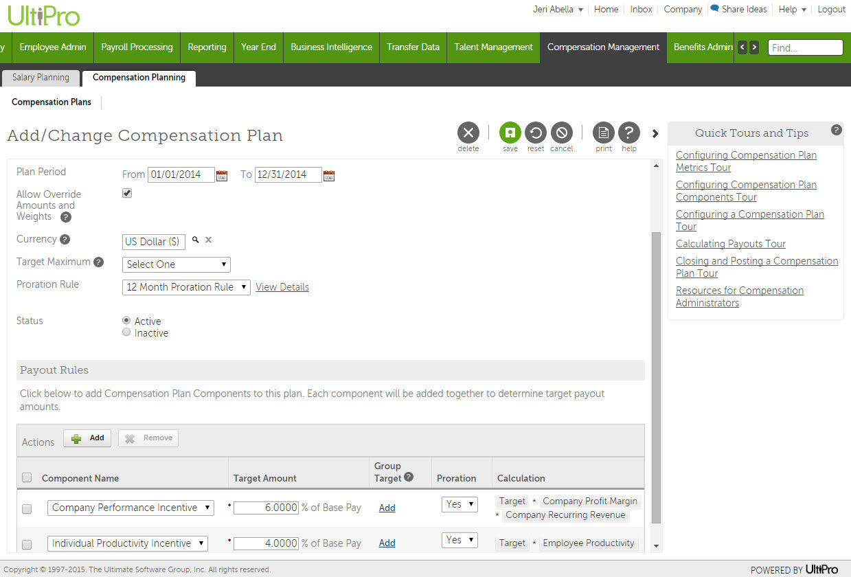 UltiPro screenshot: Compensation Management in UltiPro