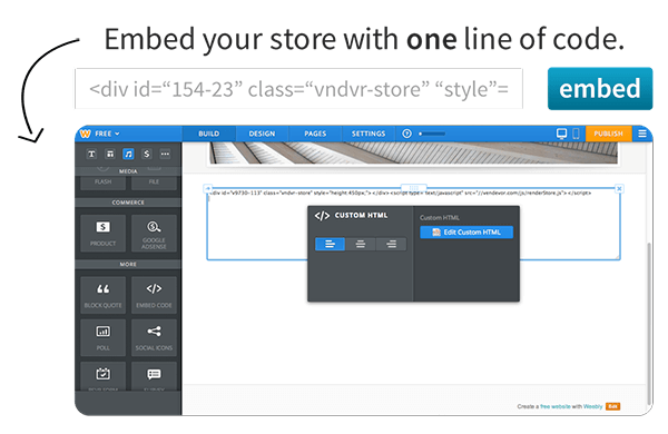 Embed your Store with one line of code