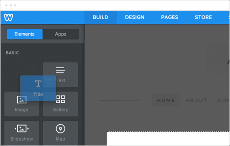 Weebly screenshot: Drag and drop interface
