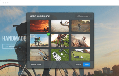 Weebly screenshot: Image background selection