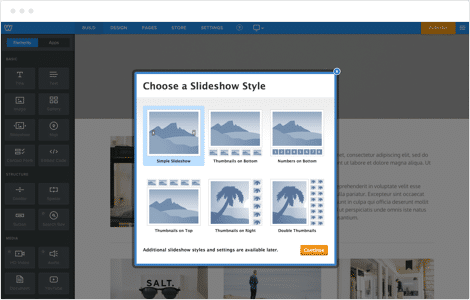Weebly screenshot: Slideshow creation