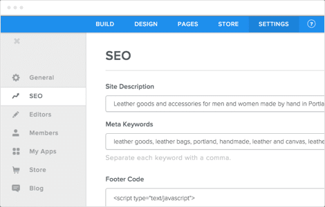 Weebly screenshot: SEO management