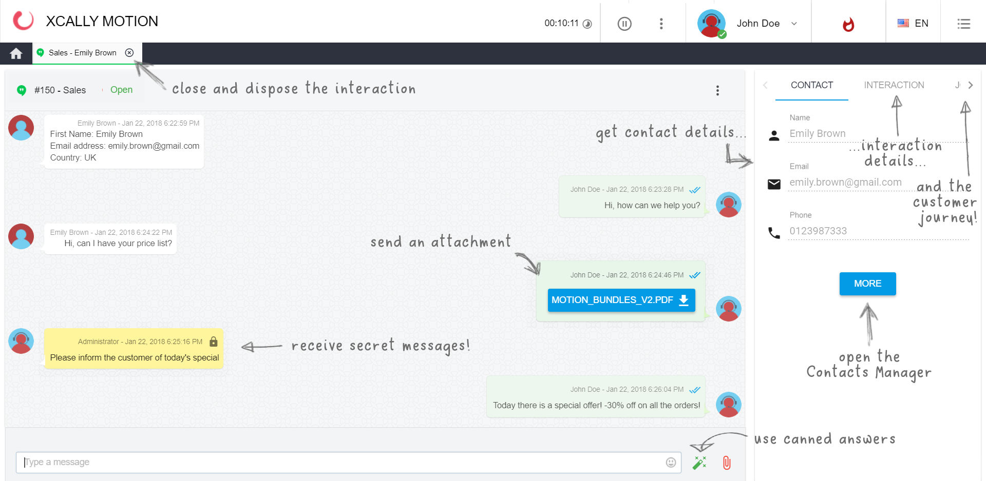 XCALLY screenshot: In the interaction view, agents can receive and send messages, attachments, canned answers, and can immediately see also contact info, interaction details and the customer journey