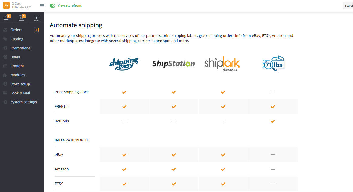 X-Cart screenshot: Automate shipping processes with X-Cart's shipping partners