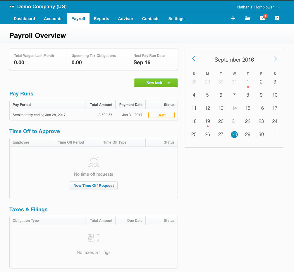 Xero screenshot: Xero payroll