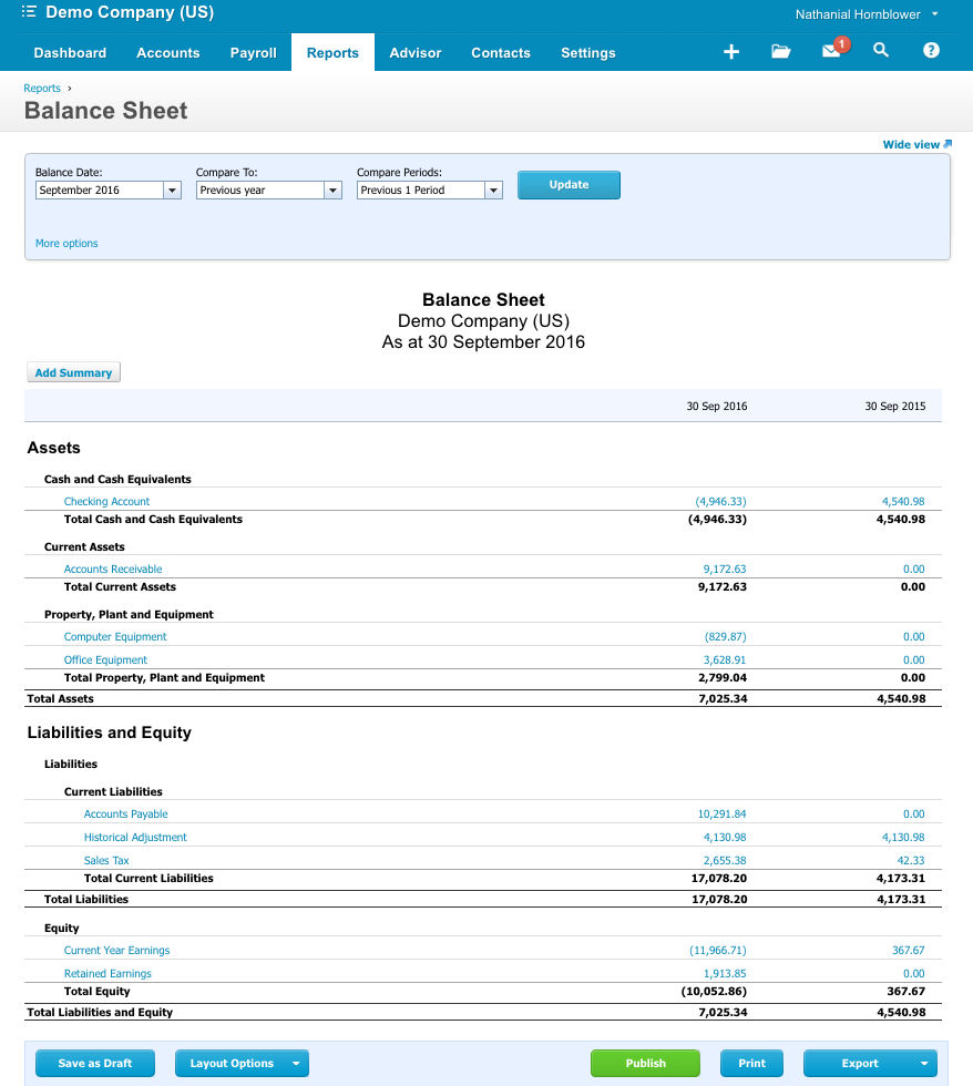 Xero screenshot: Xero reporting