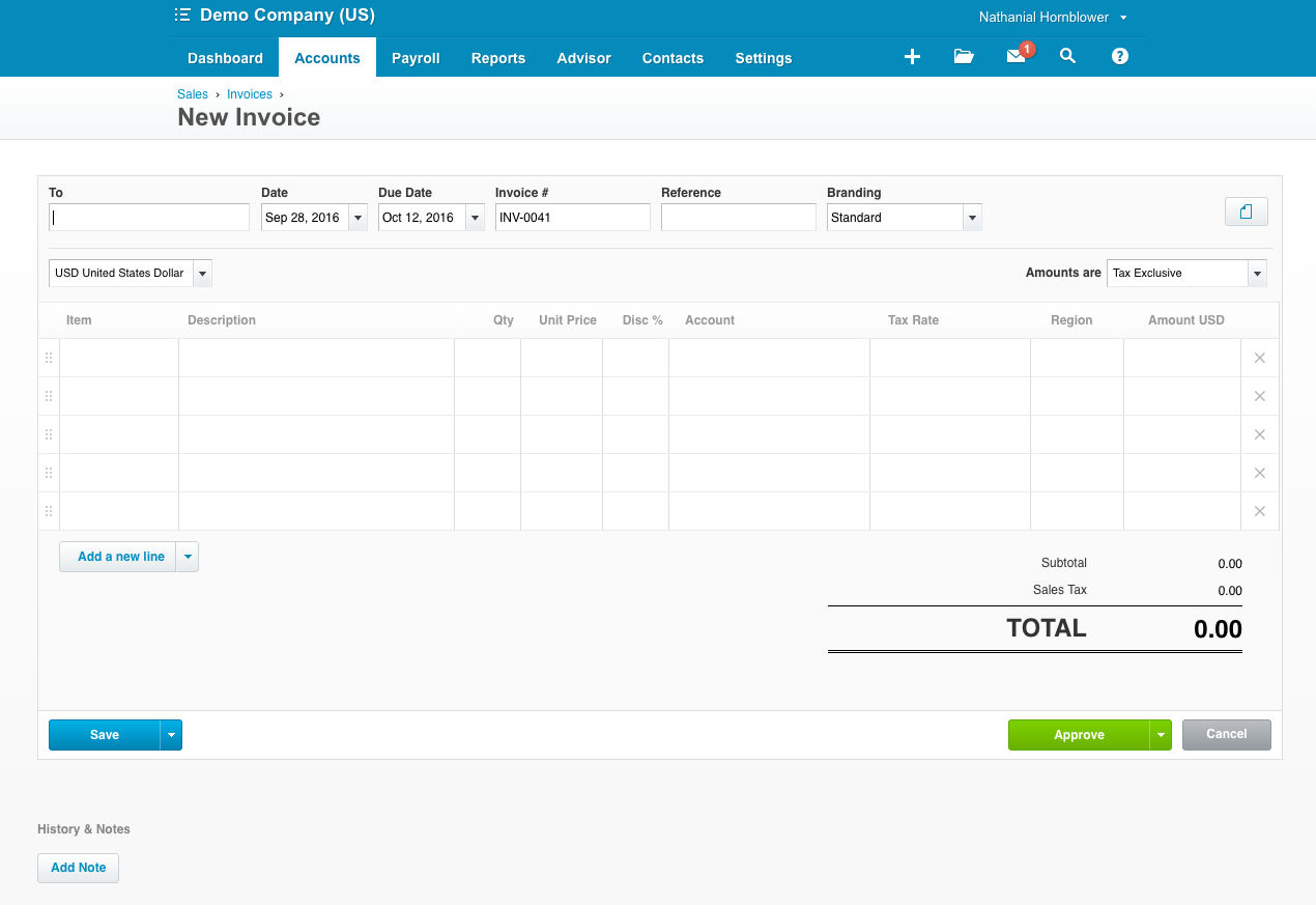 Xero screenshot: Easily create new invoices.