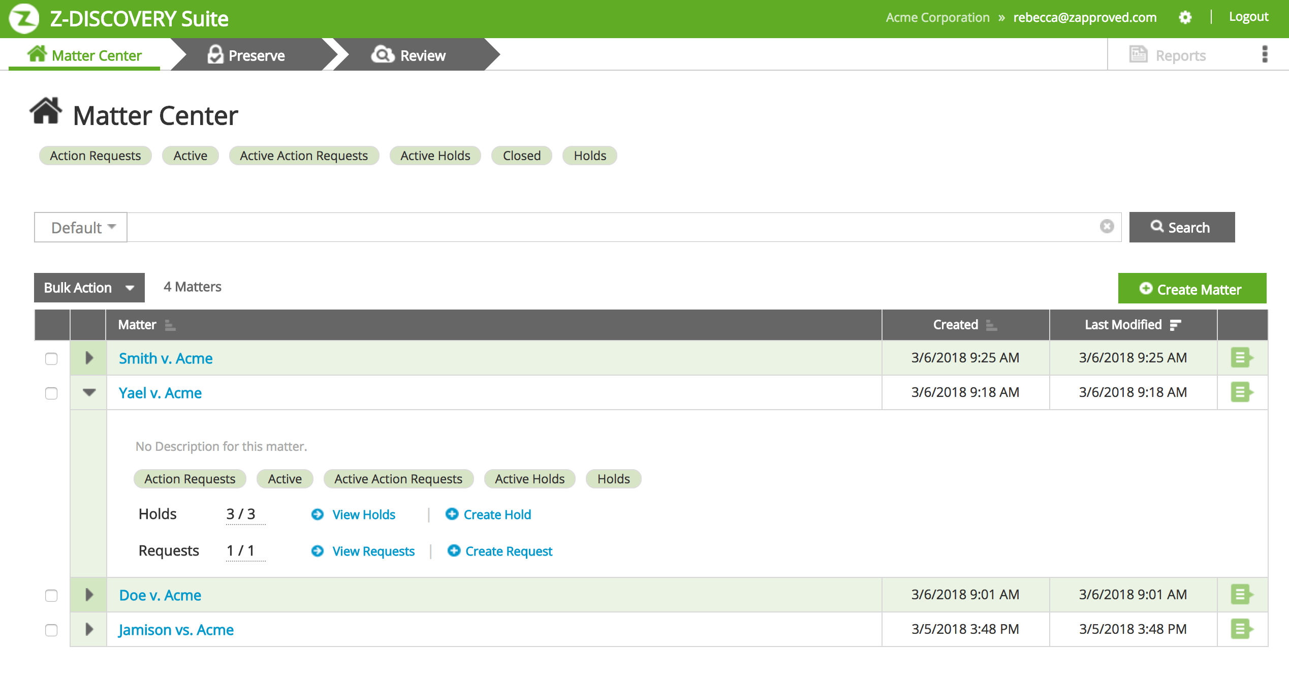 Z-Discovery screenshot: Manage litigation matters in a secure, online system.